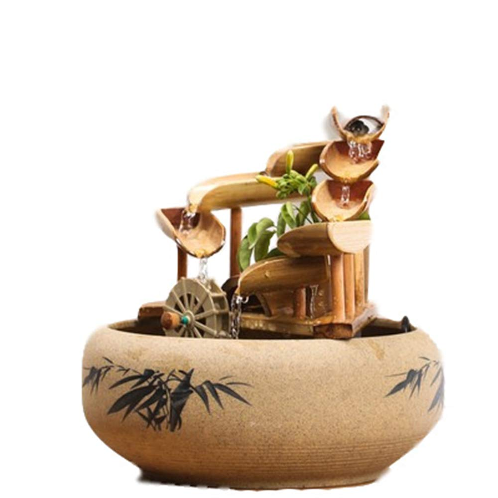 DQM Bamboo Accents Water Fountain for Patio, Fountain Small Ornaments, for Indoor, Outdoor, Aquarium, Home, Office, Add Small Stones or Shells to Further Create Your Ideal Environment. by DQM
