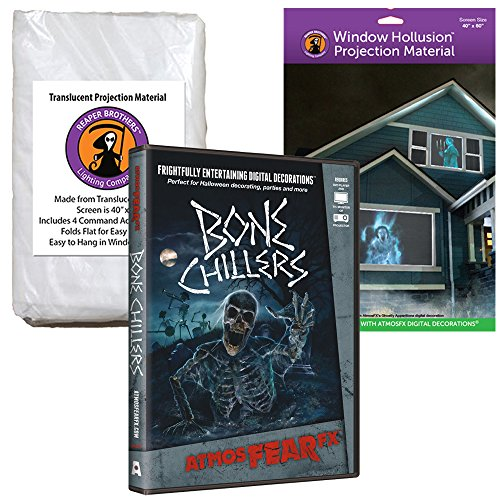 AtmosFEARfx Bone Chillers Halloween Digital Decoration DVD with Hollusion (W) + Reaper Bros Window Projection (Halloween Projector Ghost)