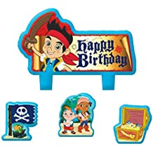 """Party Time Disney Jake and the Neverland Pirates Mini Character Birthday Candle Set, Pack of 4, Multi, 1.5"""" x 1.75"""" Wax"""
