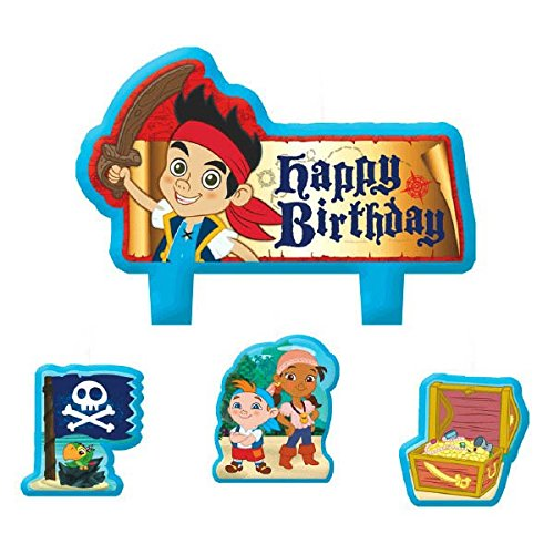 Party Time Disney Jake and the Neverland Pirates Mini Character Birthday Candle Set, Pack of 4, Multi , 1.5