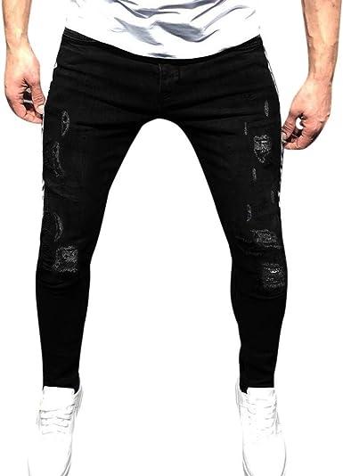 Geilisungren Pantalón para Hombre Casual Chino Jogging Biker ...
