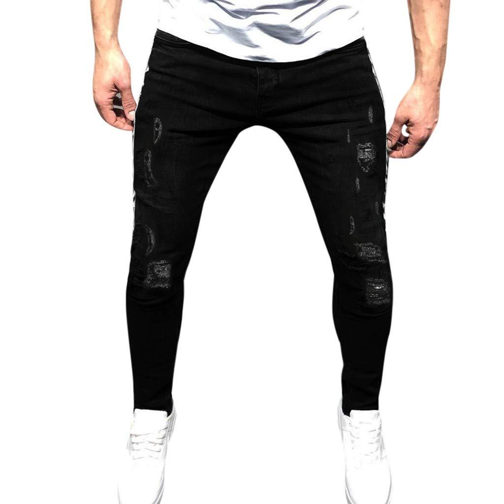 Men's Athletic Pants Slim Fit Vintage Distressed Motorcycle Jeans Runway Biker Denim Jeans Black by LOVOZO