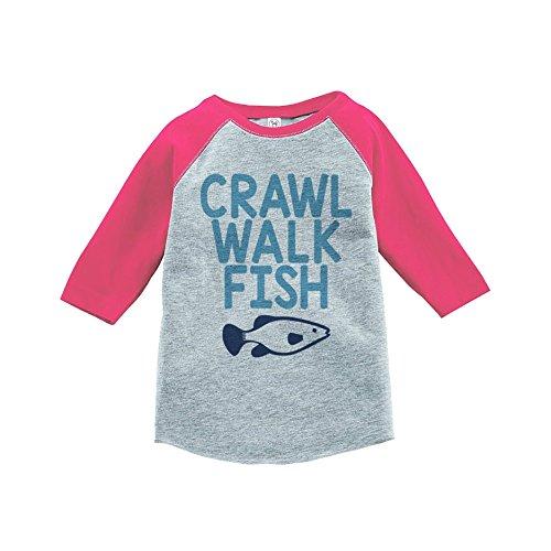 7 ate 9 Apparel Kids Crawl Walk Fish Pink Baseball Tee 2T
