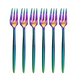 BRIIEC 18/10 Stainles Steel Rainbow Cake Forks Set 3 Tines Fruit Salad Fork, Slim Cutlery for Kitchen Hotel Restaurant Wedding Party, Mirror Finish, Dishwasher Safe, Pack of 6