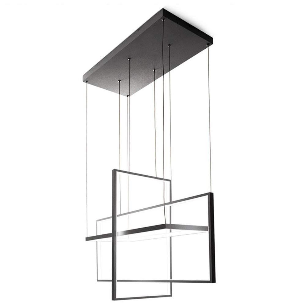 Modernen 3 Rechteckig LED Pendelleuchte Design mit Fernbedienung dimmbar Pendellampe Esszimmer Hängelampe höhenverstellbare Esstisch Wohnzimmer Metallrahmen Kronleuchter (106WSchwarz -Längliche 80CM)