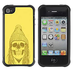 Planetar® ( Yellow Punk Hippie Skull ) Apple iPhone 4 / 4S Hybrid Heavy Duty Shockproof TPU Fundas Cover Cubre Case