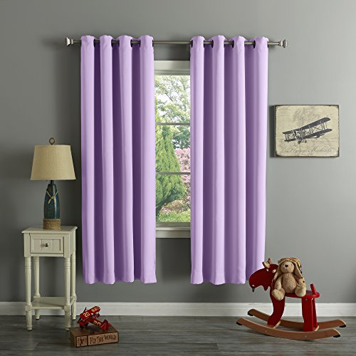 Best Home Fashion Premium Thermal Insulated Blackout Curtains - Antique Bronze Grommet Top - Lavender- 52