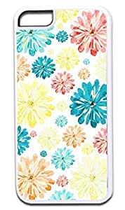 02-Scattered Flowers-Pattern-Case for the APPLE iphone 6 plus 5.5 -Hard White Plastic Outer Case with Tough Black Rubber Lining