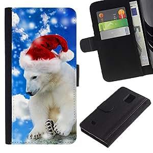 KingStore / Leather Etui en cuir / Samsung Galaxy Note 4 IV / Oso polar del invierno del sombrero de Santa de la nieve de Navidad