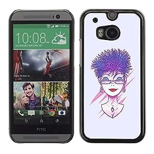 Caucho caso de Shell duro de la cubierta de accesorios de protección BY RAYDREAMMM - HTC One M8 - Púrpura pelo de la mujer