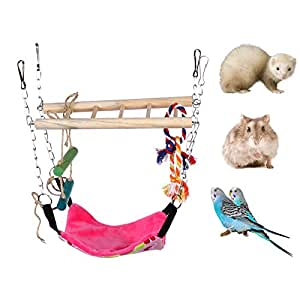 "Hamster Toy,Small Pet Swing Toy with Rope Accents & Climbing Ladder,Detachable Swinging Hammock for Birds, Hamsters, Sugar Gliders & Other Mini Caged Animals (9.06"" L x 3.74"" W x 12.6"" H)"