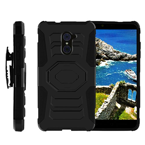 (TurtleArmor | ZTE Kirk Case | Imperial Max Case | Max Duo Case [Octo Guard] Armor Rugged Solid Hybrid Sturdy Kickstand Impact Holster Belt Clip Sports Video Games Design - Black)