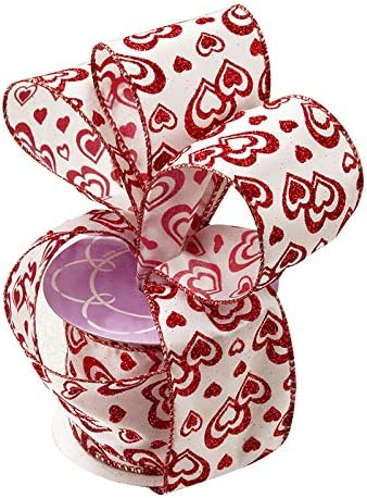 """10 Yards Love Red White Hearts Valentine/'s Day Pink Satin Wired Ribbon 2 1//2/""""W"""