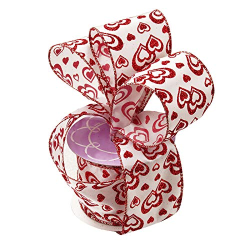 Valentine's Day Hearts Wired Ribbon – 2 1/2″ x 10 Yards, Metallic Red Glitter Hearts on White Ribbon, Décor, Gift Wrap, Hair Bow, I Love You, Bows