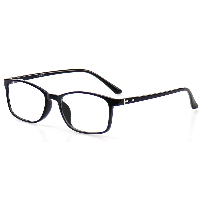 ANRRI Blue Light Blocking Glasses for Computer Use, Anti Eyestrain UV Filter Screen Protection Eyeglasses Black Frame, Man/Women