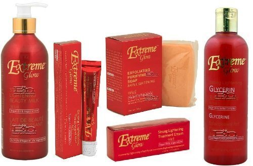 EXTREME GLOW Super Set (Creme, Gel, Soap, Beauty Milk, and Rose Water) by Extreme glow
