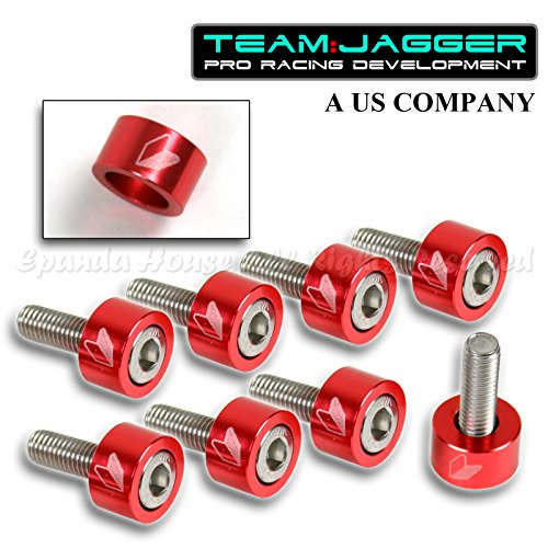 For 00-08 S2000 S2K JDM Logo 9Pc 8mm Bolts Header Cup Washers Metal Anodized Red