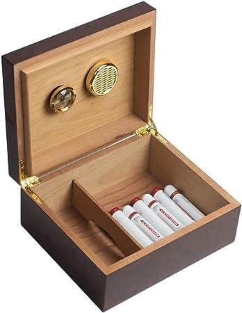Accesorios de cigarrillos Madera de cedro del cigarro caja de cigarro humidor de puros de gran capacidad humidificador alcoholizado, capacidad de 40 cigarros (Color : Brown , Size : 26*22*11.5cm) : Amazon.es: Hogar