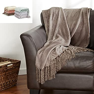 Danya Collection Ultra Velvet Plush Super Soft Blanket. Lightweight Throw Blanket in Solid Colors Featuring a Decorative Fringe. By Home Fashion Designs. (Prairie)
