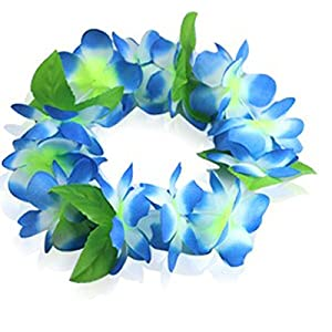 JSSHI Lush Hawaiian Headpiece,Hawaiian Flower Leis Jumbo Necklace Bracelets Headband Set with Leaf for Hawaiian Luau Party Decoration Supplies (with Green Leaves,Blue) 2