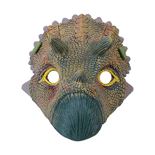 AutumnFall Funny Cosplay Dinosaur Face Overhead Latex Costume Prop Scary Mask Party Holiday Toy for Carnival Christmas Easter New Years Eve Party Halloween (A)