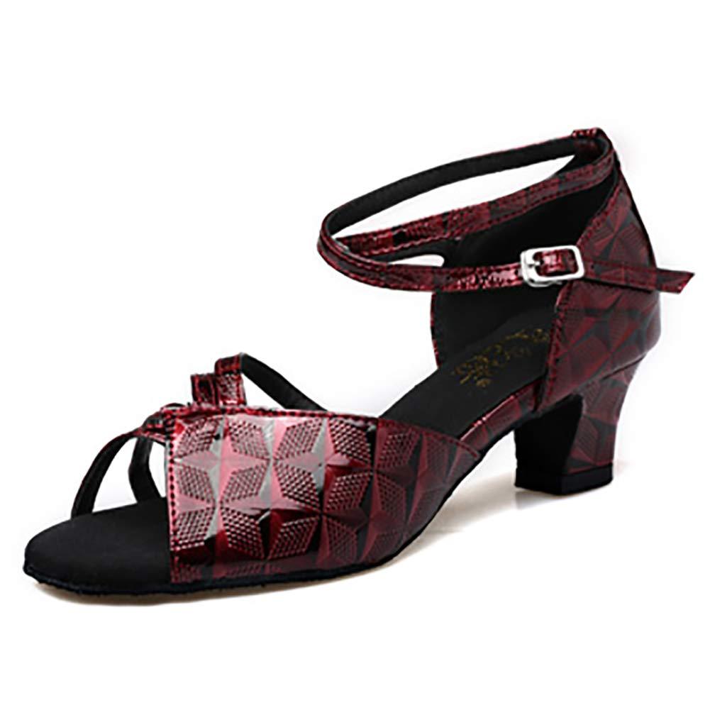 Rouge(heel 6cm) KQJLatin Chaussures de danse latine blanches imprimées de chaussures de fond de jazz doux d'intérieur de dames 33EU