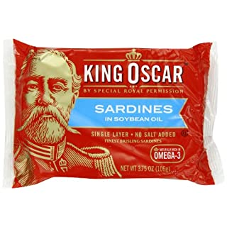 King Oscar Sardines In Soybean Oil, 3.75-Ounce Tins (Pack of 12)