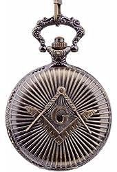 Hydia Pocket Watch Engraved Freemasonry Masonic Quartz Chain Value Quality Full Hunter Retro Antique