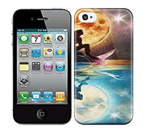 Best Power(Tm) HD Colorful Painted Watercolor Moon An Little Mermaid Hard Phone Case For Iphone 4/4S
