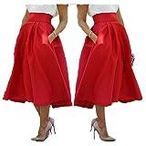Taiduosheng Women Stretch High Waist Skater Flared Pleated Swing Long Skirt Dress X-Large