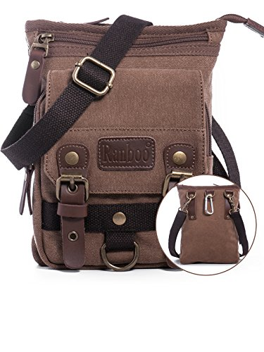 Galaxy Vintage Shoulder Bag (Men's Small Vintage Canvas Shoulder Bag Belt Clip Pouch Work Bag Cellphone Holster Carrying Case Travelling Bags Crossbody Fanny Pack Waist Pouch for IPhone 6S 7 8 Plus Samsung S6 8 Edge Plus LG G4 G5)