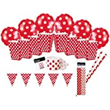 Unique Party - 83138 - Kit de Décoration de Fête à Pois - Rouge