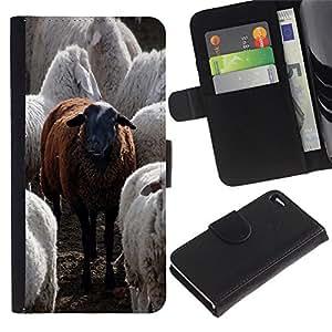 Be-Star la tarjeta de Cr¨¦dito Slots PU Funda de cuero Monedero caso cubierta de piel Para Apple Apple iPhone 4 / iPhone 4S ( Black Sheep Animal sveglio divertente Furry )