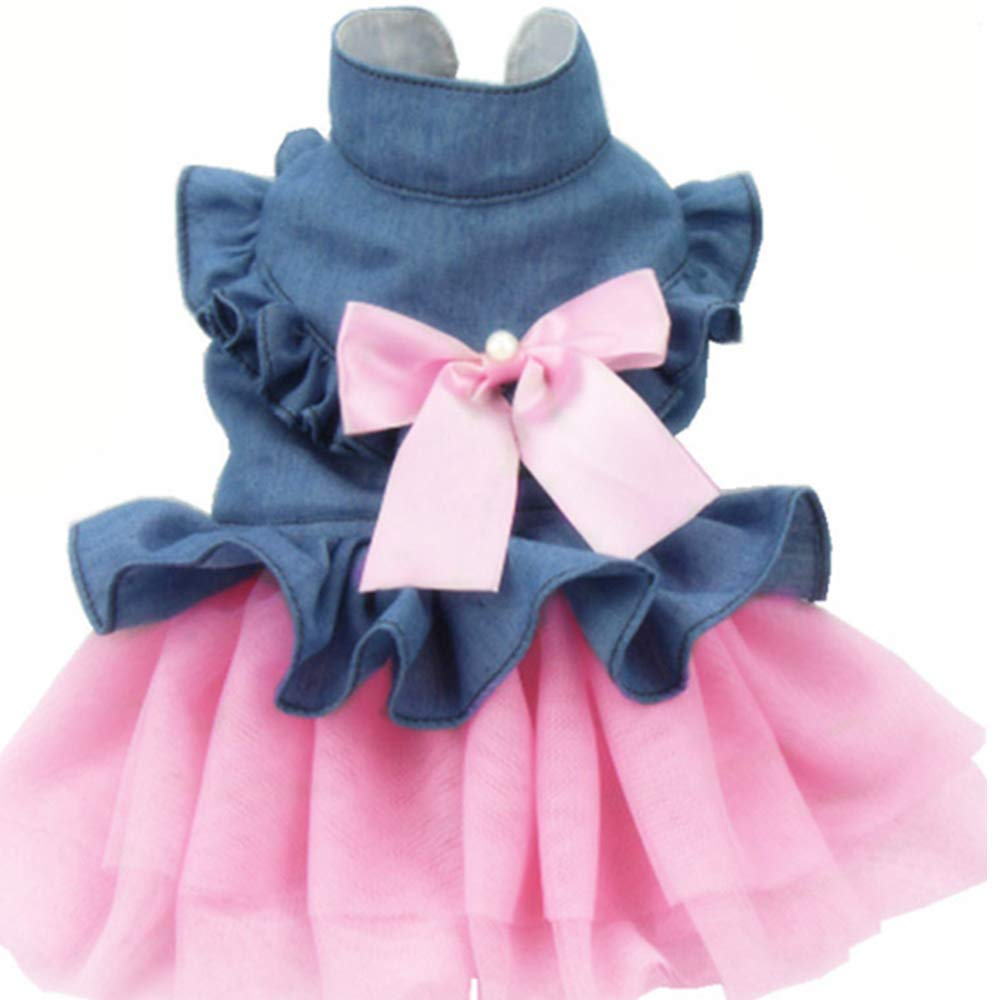 Medium ANIAC Pet Denim Dress with Cute Bow-Knot Comfy Vest Skirt Lace Trim Tutu Summer Spring Clothes for Cats and Small Dogs (Medium)