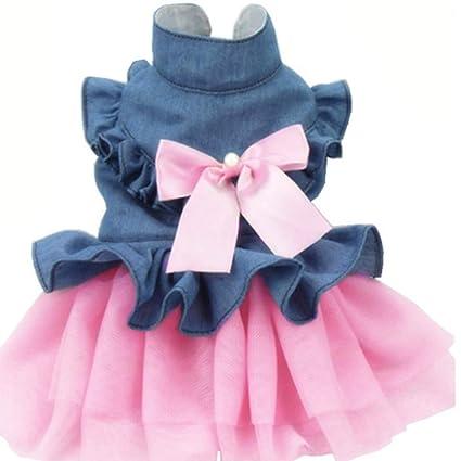 5e7c7ba143ec55 ANIAC Pet Denim Dress with Cute Bow-Knot Comfy Vest Skirt Lace Trim Tutu  Summer