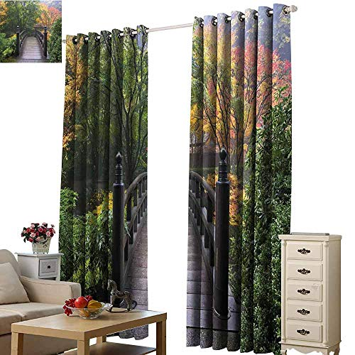 Xlcsomf Home Curtain Nature Easy to Care Wooden Bridge at Portland Japanese Garden Oregon in Foggy Autumnal Morning Park Green Coral,W84 xL96 (Patio Furniture Portland Oregon)