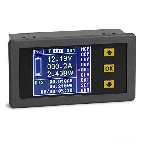 Price comparison product image DROK DC 0-120V 0-100A Digital Multimeter Charge-Discharge Battery Tester, Volt Meter/Ammeter/Watt Meter/Time/Capacity/Electricity Usage Monitor, LCD Color Screen with Overvoltage Protection