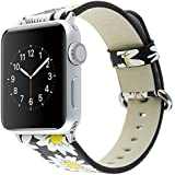 Bracelet for Apple Watch, National Black White Floral Printed Leather Watch Band 38mm 42mm Strap for Apple Watch Flower Design Wrist Watch Bracelet (Chrysanthemum Black, 38mm)