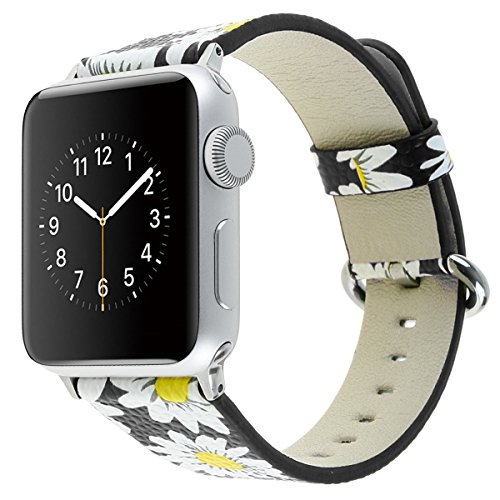 atch, National Black White Floral Printed Leather Watch Band 38mm 42mm Strap for Apple Watch Flower Design Wrist Watch Bracelet (Chrysanthemum Black, 38mm) (Series White Leather)