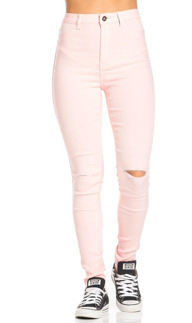 SOHO GLAM Super High Waisted Knee Slit Skinny Jeans in Light Pink