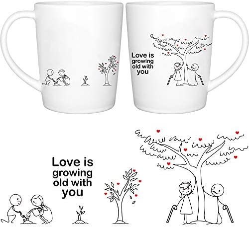 Amazon Com Boldloft Grow Old With You Couples Coffee Mugs Anniversary Gifts For Her Couples Gifts For Cotton Anniversary Engagement Wedding Gifts For Bride And Groom His And Hers Gifts Kitchen Dining