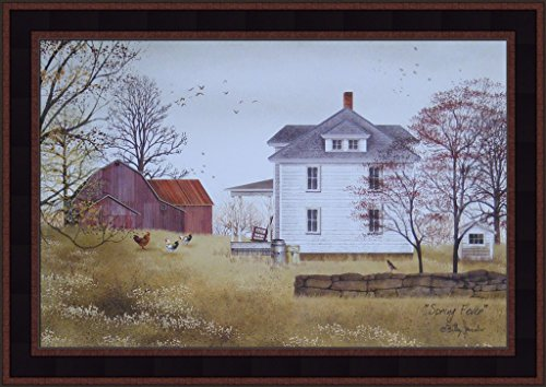 y Jacobs 15x21 Farmhouse Farm Red Barn Chickens Roosters Primitive Folk Art Print Framed Picture ()