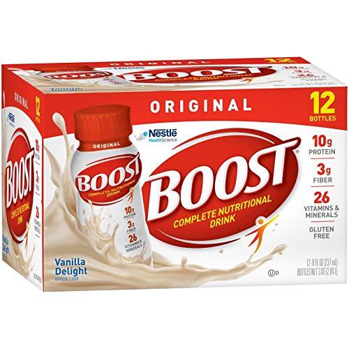 Boost Original Complete Nutritional Drink, Delight Vanilla, 8 fl oz Bottle, 12 Pack