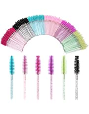 300PCS Mascara Wands Disposable Eyelash Mascara Eyebrow Brushes Applicator Makeup Cosmetic Brush with Crystal Handle for Eyelash Extensions Mascara Use 6 Colors