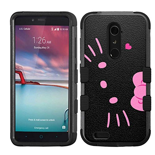 for ZTE Grand X Max 2/Imperial Max/Zmax Pro/Kirk (Z988), Hard+Rubber Dual Layer Hybrid Heavy-Duty Rugged Armor Cover Case - Hello Kitty #BP (Hello Kitty Phone Case For A Zte)