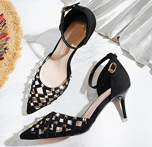 PBXP OL Pompe Peep Toe Cinghie Ankle Stiletto Mid Heel Fibbia Hollow Decorazione Rivetto Superiore Edizione Limitata Casual Scarpe UE Taglia 34-39 , black , 38