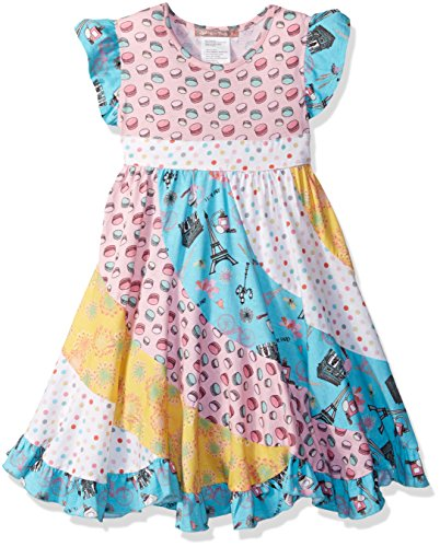 Jelly The Pug Little Girls' Spring in Paris Flo Dress, Multi, (Girls Pug Clothes)