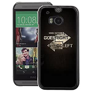 A-type Arte & diseño plástico duro Fundas Cover Cubre Hard Case Cover para HTC One M8 (Left Right Direction Meaning Deep Text)
