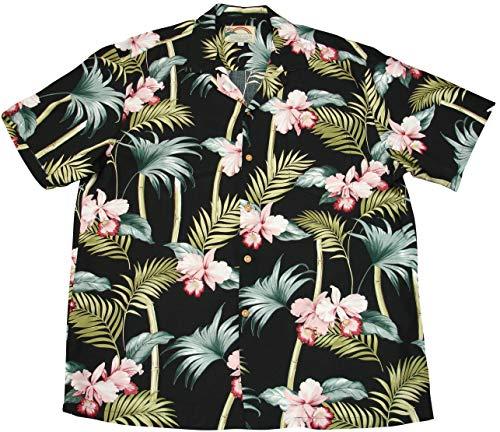 Paradise Found Men's Orchid Bamboo Hawaiian Shirt, Black, 3X