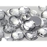 25mm Crystal H102 Flat Back Round Acrylic Jewels High Quality Pro Grade - 20 Pieces